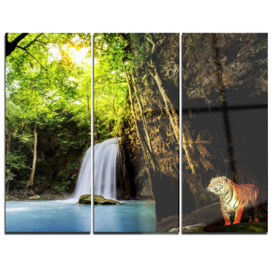 Designart Tiger Watching Waterfall Landscape Photography Canvas Art Print - 3 Panels
