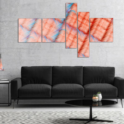 Designart Red Fractal Grill Pattern Multipanel Abstract Art On Canvas - 5 Panels