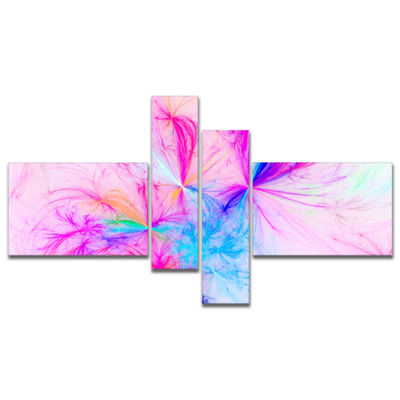 Designart Christmas Fireworks Pink Multipanel Abstract Print On Canvas - 4 Panels