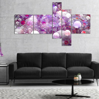Designart Red Fractal Molecule Pattern MultipanelAbstract Wall Art Canvas - 4 Panels