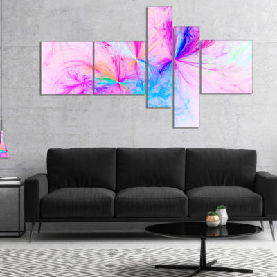 Designart Christmas Fireworks Pink Multipanel Abstract Print On Canvas - 5 Panels