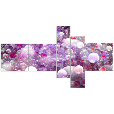 Designart Red Fractal Molecule Pattern MultipanelAbstract Wall Art Canvas - 5 Panels