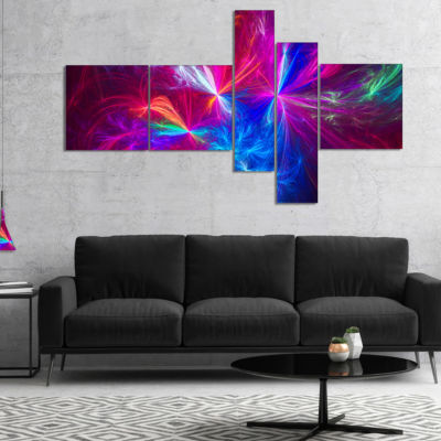 Designart Christmas Fireworks Red Multipanel Abstract Print On Canvas - 4 Panels