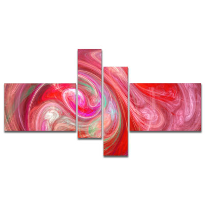 Designart Red Fractal Pattern With Circles Multipanel Abstract Canvas Art Print - 4 Panels