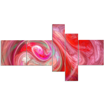 Design Art Red Fractal Pattern With Circles Multipanel Abstract Canvas Art Print - 5 Panels