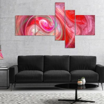 Designart Red Fractal Pattern With Circles Multipanel Abstract Canvas Art Print - 5 Panels