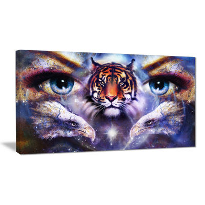 Designart Tiger With Woman Eyes Animal Canvas ArtPrint