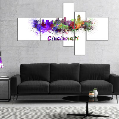 Designart Cincinnati Skyline Multipanel Large Cityscape Canvas Artwork Print - 4 Panels
