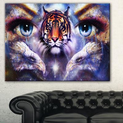 Designart Tiger With Woman Eyes Animal Canvas ArtPrint - 3 Panels