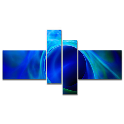 Design Art Circled Blue Psychedelic Texture Multipanel Abstract Art On Canvas - 4 Panels