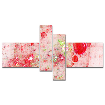 Designart Red Fractal Planet Of Bubbles MultipanelAbstract Wall Art Canvas - 4 Panels