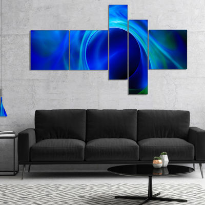 Designart Circled Blue Psychedelic Texture Multipanel Abstract Art On Canvas - 5 Panels
