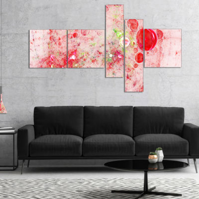 Designart Red Fractal Planet Of Bubbles MultipanelAbstract Wall Art Canvas - 5 Panels