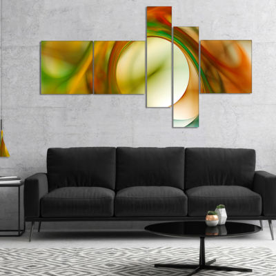Designart Circled Green Psychedelic Texture Multipanel Abstract Art On Canvas - 4 Panels