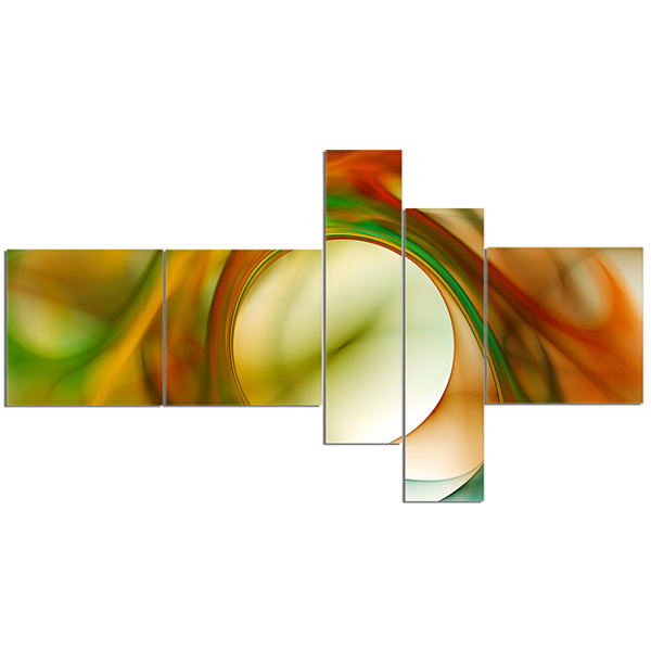 Designart Circled Green Psychedelic Texture Multipanel Abstract Art On Canvas - 5 Panels