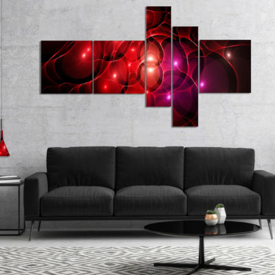 Designart Red Fractal Space Circles Multipanel Abstract Canvas Art Print - 5 Panels
