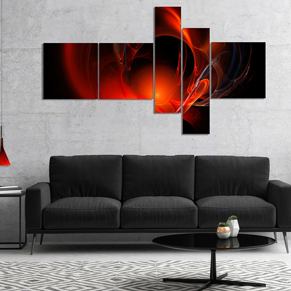 Designart Red Galactic Nebula On Black MultipanelAbstract Wall Art Canvas - 5 Panels