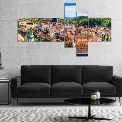 Designart City Aerial View Panorama Multipanel Cityscape Canvas Art Print - 5 Panels