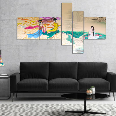 Designart Classical Chinese Painting Multipanel Abstract Canvas Art Print - 4 Panels