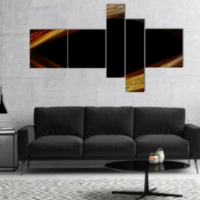 Designart Red Golden Shapes In Black Multipanel Abstract Canvas Art Print - 5 Panels
