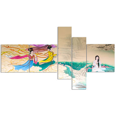 Designart Classical Chinese Painting Multipanel Abstract Canvas Art Print - 5 Panels