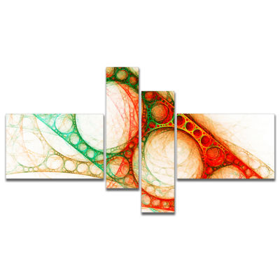 Designart Red Green Metal Constructions MultipanelAbstract Canvas Art Print - 4 Panels