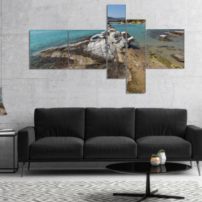 Designart Clean Waters And Rock Formations Multipanel Landscape Canvas Art - 5 Panels