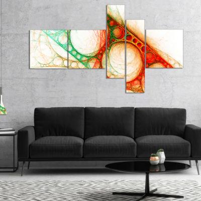 Designart Red Green Metal Constructions MultipanelAbstract Canvas Art Print - 5 Panels