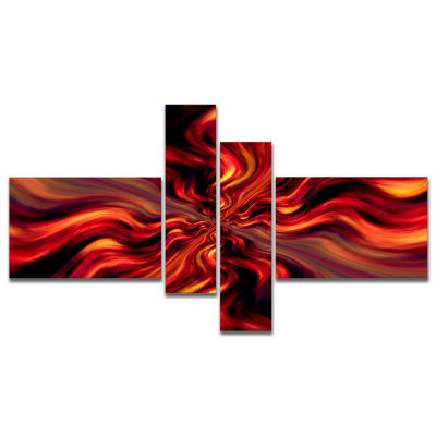 Designart Red Infinity Illustration Multipanel Abstract Canvas Art Print - 4 Panels