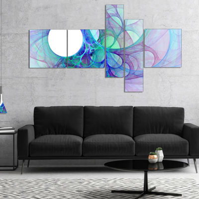 Designart Clear Blue Fractal Angel Wings Multipanel Abstract Wall Art Canvas - 5 Panels