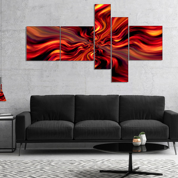 Designart Red Infinity Illustration Multipanel Abstract Canvas Art Print - 5 Panels