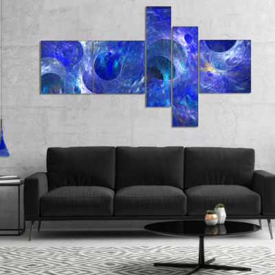 Designart Clear Blue Fractal Glass Texture Multipanel Abstract Canvas Art Print - 5 Panels