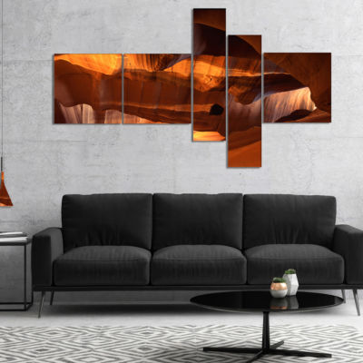 Designart Red Limestone Caves Multipanel LandscapePhoto Canvas Art Print - 5 Panels