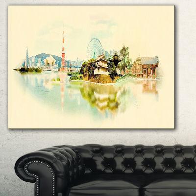 Designart Tokyo Panoramic View Cityscape Watercolor Canvas Print - 3 Panels
