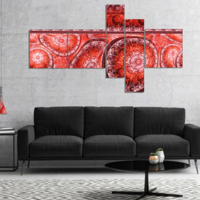 Designart Red Living Cells Fractal Design Multipanel Abstract Canvas Art Print - 4 Panels