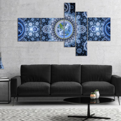 Designart Clear Blue Psychedelic Relaxing Art Multipanel Abstract Canvas Art Print - 4 Panels