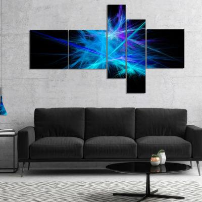 Designart Clear Blue Spectrum Of Light MultipanelAbstract Canvas Art Print - 4 Panels