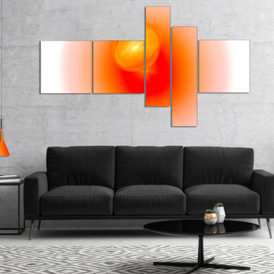 Designart Red Luminous Misty Sphere Multipanel Abstract Canvas Art Print - 5 Panels