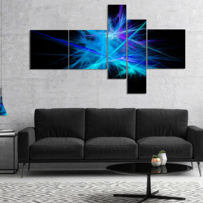 Designart Clear Blue Spectrum Of Light MultipanelAbstract Canvas Art Print - 5 Panels
