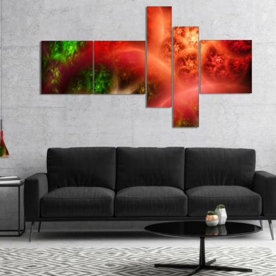 Designart Red Magic Stormy Sky Multipanel AbstractCanvaS Art Print - 4 Panels