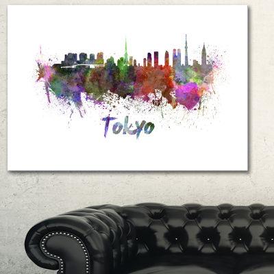 Designart Tokyo Skyline Cityscape Canvas ArtworkPrint - 3 Panels