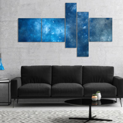 Designart Clear Blue Starry Fractal Sky MultipanelAbstract Canvas Art Print - 4 Panels