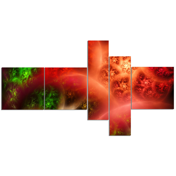 Designart Red Magic Stormy Sky Multipanel AbstractCanvaS Art Print - 5 Panels