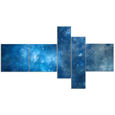 Designart Clear Blue Starry Fractal Sky MultipanelAbstract Canvas Art Print - 5 Panels