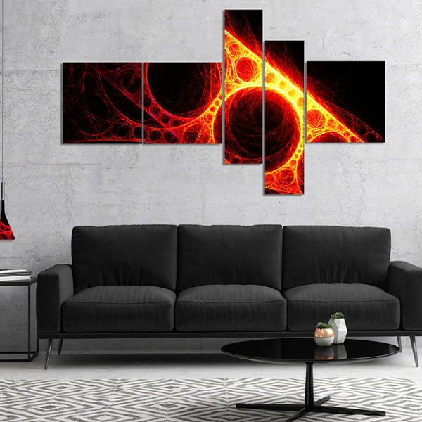 Designart Red Metal Construction Multipanel Abstract Canvas Art Print - 5 Panels