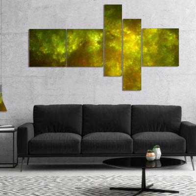 Designart Clear Golden Starry Fractal Sky Multipanel Abstract Canvas Art Print - 5 Panels