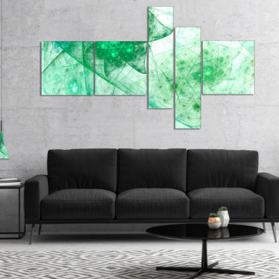 Designart Clear Green Rotating Polyhedron Multipanel Abstract Canvas Wall Art - 4 Panels