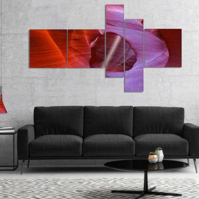 Designart Red Orange Antelope Canyon Multipanel Landscape Photo Canvas Art Print - 5 Panels