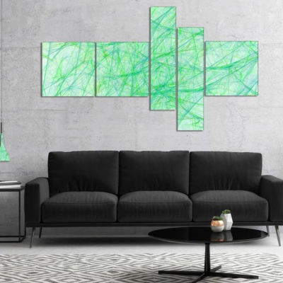 Designart Clear Green Veins Of Marble Multipanel Abstract Canvas Art Print - 5 Panels