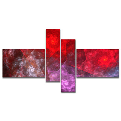 Designart Red Purple Symphony Of Gems Multipanel Abstract Canvas Art Print - 4 Panels